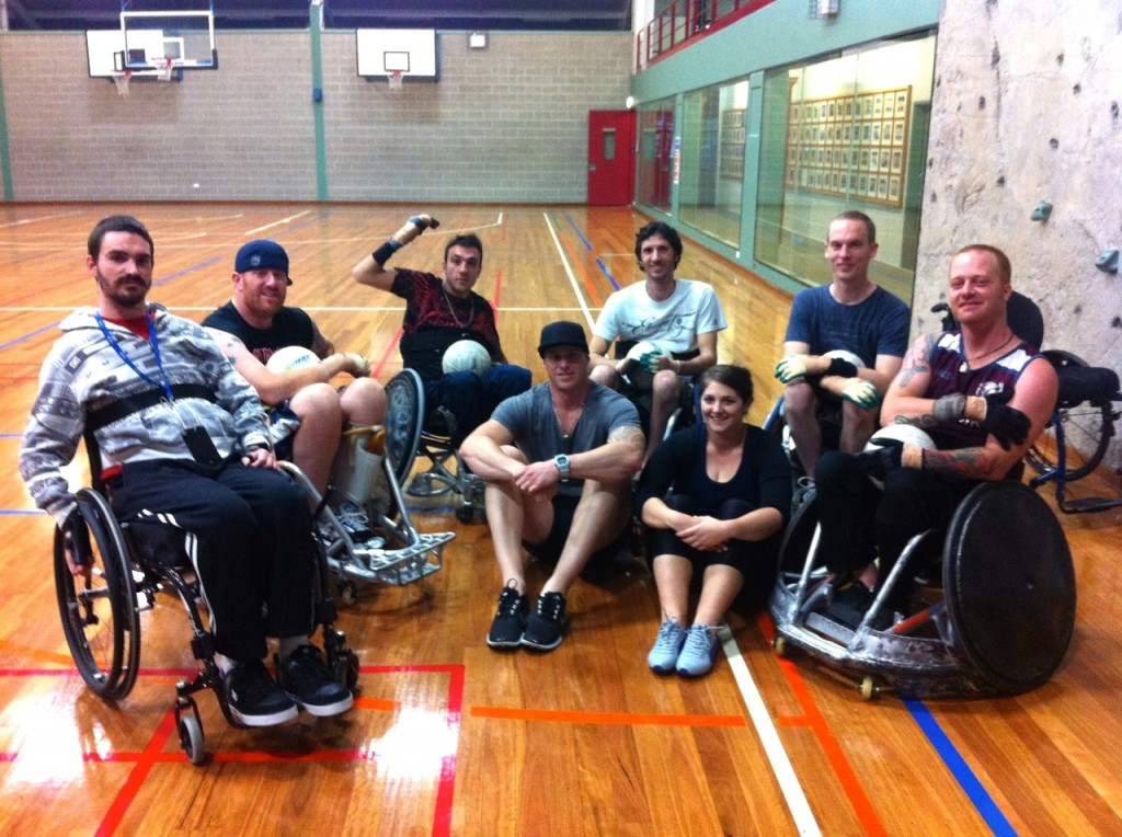 Curtis Palmer with some team members from the NSW Gladiators